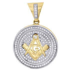 "10K Yellow Gold Simulated Diamond Masonic Symbol Medallion Pendant Charm 1.5"""