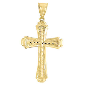 10K Yellow Gold Diamond Cut Flat Cross Charm Pendant