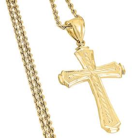 "10K Yellow Gold Diamond Cut Flat Cross Charm Pendant + 2mm Hollow Rope Chain 22"""