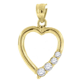 "10K Yellow Gold Heart CZ Pendant 0.85"" Cut Out Charm"