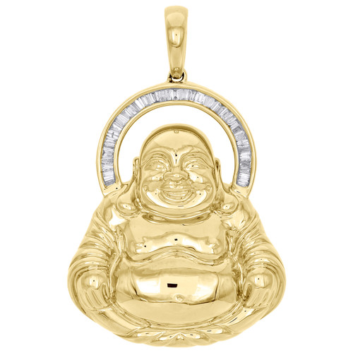 10k yellow gold baguette cut diamond laughing buddha pendant 195 image 1 aloadofball Image collections