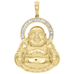 "10K Yellow Gold Baguette Cut Diamond Laughing Buddha Pendant 1.95"" Charm 0.56 CT"