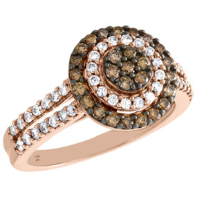 10K Rose Gold Brown Diamond Flower Set Double Halo Engagement Ring 0.75 CT.