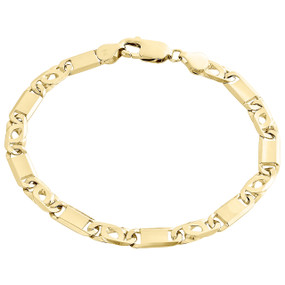 """Solid Mens 14K Yellow Gold 6mm Statement Fancy Tiger Eye Bar Link Bracelet 8"""""""
