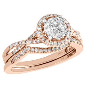 10K Rose Gold Diamond Bridal Set Halo Engagement Ring + Wedding Band 0.50 CT.