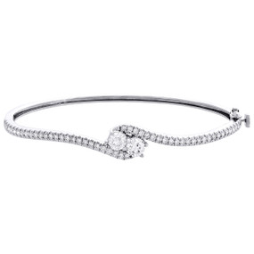 14K White Gold Round Diamond 2 Stone Bypass Bangle Hearts Together Bracelet 2 CT