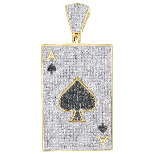 10k yellow gold black diamond pendant ace of spades poker pave charm image 1 aloadofball Image collections