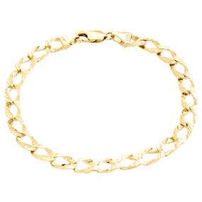 "Mens Real 10K Yellow Gold 6mm Fancy Textured Open Link Cuban Bracelet 8.50"""