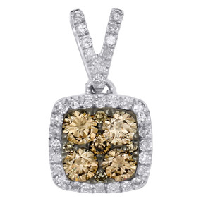 "14K White Gold Brown Diamond Square Halo Frame Cluster 0.6"" Pendant Charm 1/2 CT"