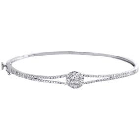 14K White Gold Genuine Princess & Round Cut Diamond Bangle Soleil Bracelet 1 CT.