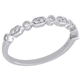 10k White Gold G Set Round Diamond Milgrain Stackable Right Hand Ring 1 8 Ct