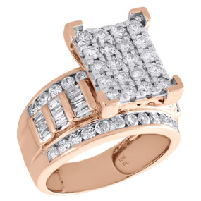 10K Rose Gold Round & Baguette Cut Diamond Rectangle Engagement Ring 2 Ct.