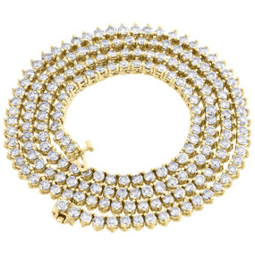 10K Yellow Gold 1 Row Round Diamond Tennis Necklace 4mm Prong Set Chain 19 CT.