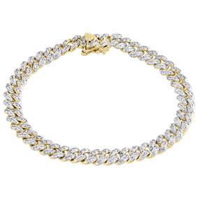 "14K Yellow Gold Diamond 3D Puffed Miami Cuban Link 6.5mm Bracelet 7""   1.90 CT."