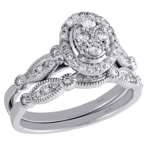 14K White Gold Diamond Bridal Set Oval Engagement Ring + Wedding ...