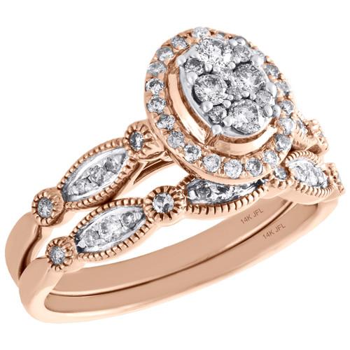 14K Rose Gold Diamond Bridal Set Oval Engagement Ring + Wedding Band ...