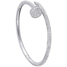 14K Solid White Gold Round Diamond Nail Bangle Size 20cm Unisex Bracelet 4 CT.