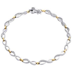 "10K Two Tone Gold Round Diamond Infinity Frame Statement Bracelet 7.5"" | 1/2 CT."