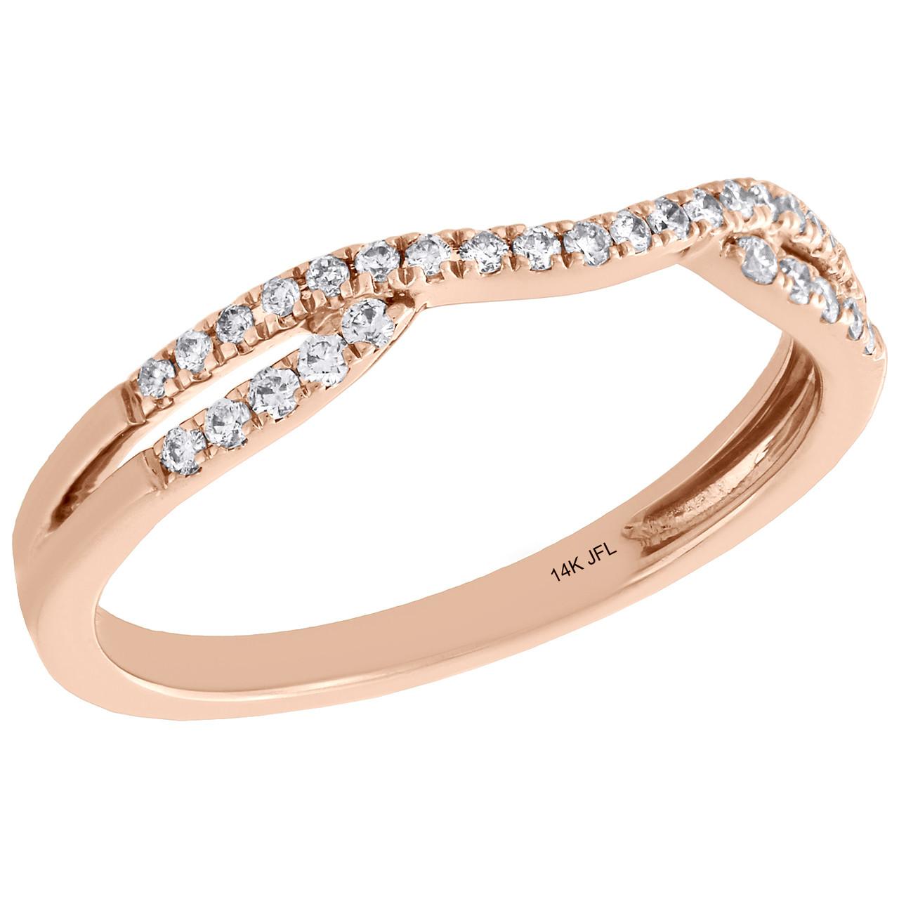 Wedding Bands For Less: 14K Rose Gold Round Diamond Contour Enhancer Ring Ladies