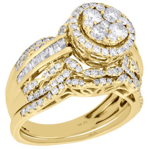 14k yellow gold diamond bridal set flower engagement ring wedding 14k yellow gold diamond bridal set flower engagement ring wedding band 15 ct image 1 mightylinksfo