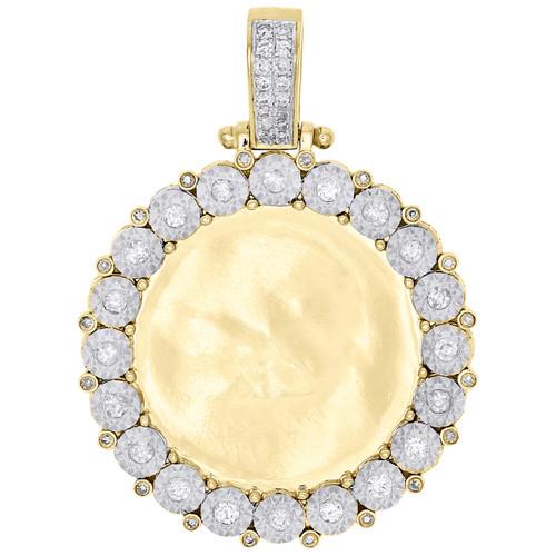 10k yellow gold memory frame diamond medallion photo engrave pendant image 1 aloadofball Gallery