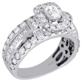 14K White Gold Emerald Solitaire Diamond Oval Halo Engagement Ring 0.50 Ct.