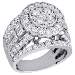 14K White Gold Princess Solitaire Diamond Flower Cluster Engagement Ring 3 Ct.