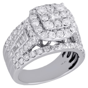 14K White Gold Princess Solitaire Diamond Square Halo Engagement Ring 3 Ct.