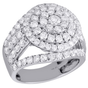 14K White Gold Round Solitaire Diamond Cluster Flower Engagement Ring 3 Ct.