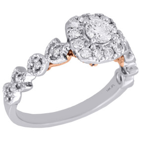14K Multi Tone Gold Round Solitaire Diamond Square Halo Engagement Ring 0.75 Ct.