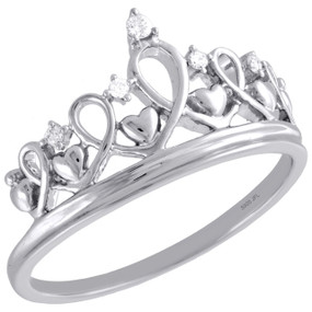 .925 Sterling Silver Round Diamond Heart Crown Right Hand Cocktail Ring 1/20 Ct.