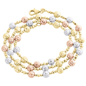 14KT Tri Color Gold 5mm Candy / Moon Cut Italian Bead Chain Necklace 20 Inches