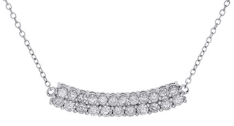 "10K White Gold Round Diamond 2 Row Bar Necklace Ladies Curved Chain 19"" 1 Ct."
