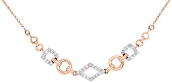 "14K Rose Gold Round Diamond Geometric Design Necklace Ladies Chain 20"" 0.20 Ct"