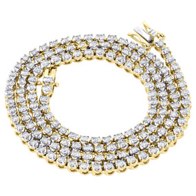 """10K Yellow Gold 1 Row Round Diamond Tennis Necklace 3.50mm Prong Set Chain 22"""" 