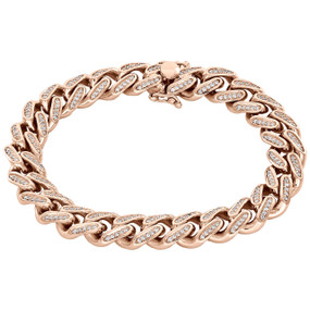 10K Rose Gold Solid Miami Cuban Link Diamond Bracelet 11.35mm | 8.50"