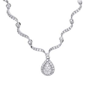 """14K White Gold Round Diamond Teardrop Chandelier Necklace 16"""" Chain 0.75 Ct."""