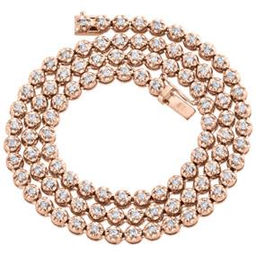 "10K Rose Gold Diamond Prong Set Tennis Choker Chain 20"" Necklace 5mm   5.85 CT."