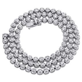 "10K White Gold Diamond Prong Set Tennis Choker Chain 18"" Necklace 5mm   5.25 CT."