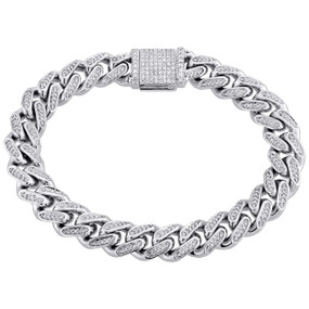 "10K White Gold 11.85mm Diamond Solid Miami Cuban Bracelet 9"" Box Clasp 3.10 CT."