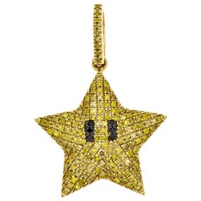 "10K Yellow Gold Yellow Diamond Puff Dome Mini Star Pendant 1"" Charm 0.41 CT."