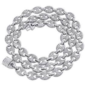 "10K White Gold 9.50mm Diamond Solid Puff Gucci Link Chain 22"" Necklace 11.60 CT."