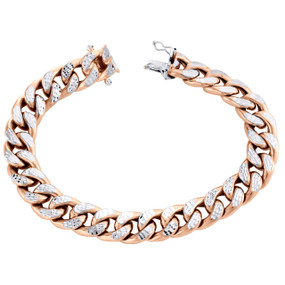 10K Rose Gold Diamond Cut Hollow Italian Miami Cuban Bracelet 10mm Box Clasp 8""