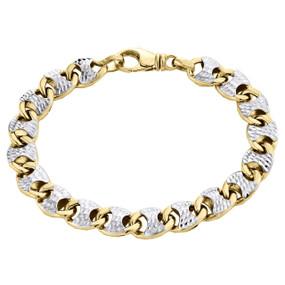 "10K Yellow Gold Diamond Cut Hollow Italian 3D Puff Gucci Link Bracelet 9.50mm 8"""