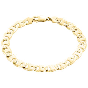 "10K Yellow Gold Solid Puff Gucci / Mariner 8.25mm Matte Fancy Link Bracelet 8.5"""