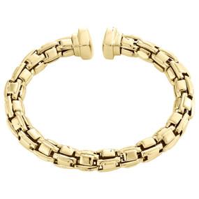 "14K Yellow Gold Italian Handmade Braided Flexible Cuff Bangle 8.50mm Bracelet 8"""