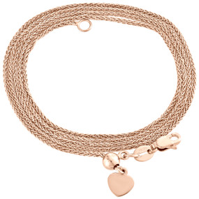 """10K Rose Gold Adjustable Quadra Wheat Chain Necklace 22"""" Dangling 6mm Heart"""