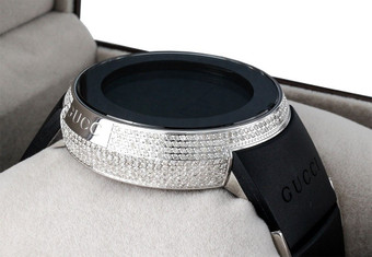 Diamond Gucci I-Gucci Watch Mens Digital YA114202 Black Rubber Band 2.50 CT.
