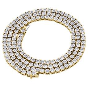 10K Yellow Gold 1 Row Round Diamond Tennis Necklace 4mm Bezel Set Chain 5.25 CT.