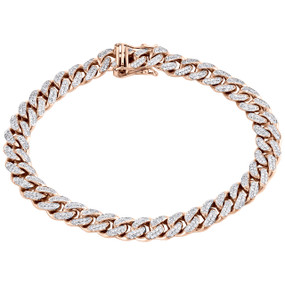"10K Rose Gold 8.50mm Solid Miami Cuban Link 9"" Genuine Diamond Bracelet 3.16 CT."